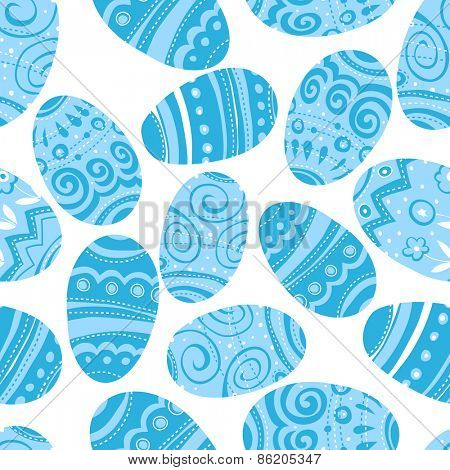 Easter Eggs Seamless Pattern. Blue Toned