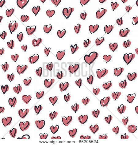 Seamless Hand Drawn Pink Hearts Pattern