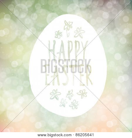 Easter Greeting on Abstract Spring Bokeh Vector Background