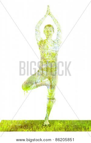 Nature harmony healthy lifestyle concept - double exposure image of  woman doing yoga Tree pose asana (Vrikshasana) exercise isolated on white background