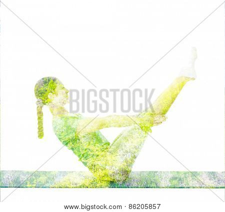 Nature harmony healthy lifestyle concept - double exposure image of  woman doing yoga asana Full Boat pose asana (Paripurna navasana) exercise isolated on white background