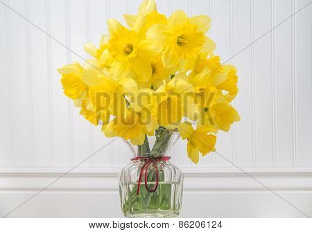 Daffodils In A Vase In Rustic Setting - Horizontal