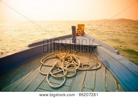 Bow Of A Blue Boat