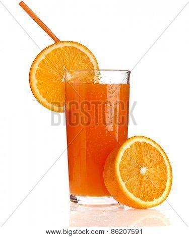 Full glass of orange juice on white background