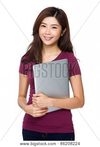 Asian woman student with holding a computer