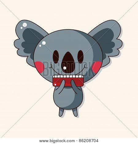 Animal Koala Playing Instrument Cartoon Theme Elements