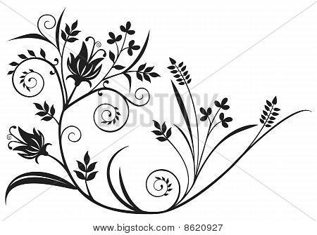 Black Floral Element