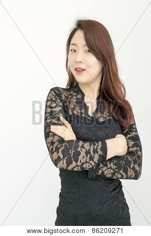 Sexy asian woman with her arms crossed