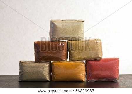stacked of different spices from India