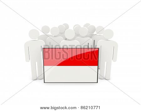 People With Flag Of Indonesia