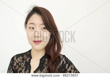 Beautiful asian woman thinking