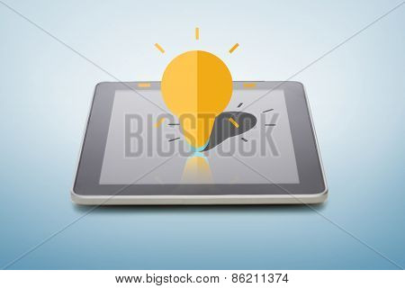 electronics, technology, innovation and business concept - black tablet pc computer with lightning bulb icon over screen and blue background