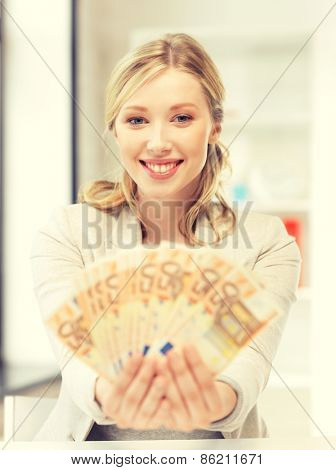 bright picture of lovely woman with euro cash money