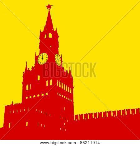 Moscow, Russia, Kremlin Spasskaya Tower with clock
