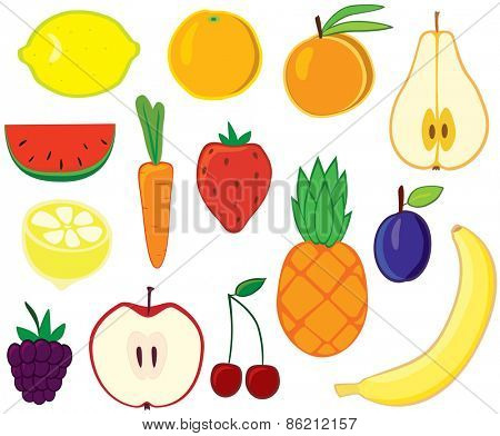 Set of vector fruits