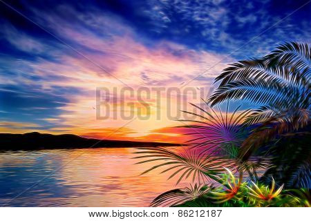 3D illustration of tropical landscape at sunset