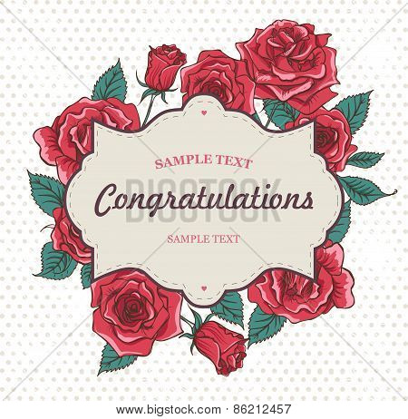 Vector Beautiful Roses Card with Frame for Text