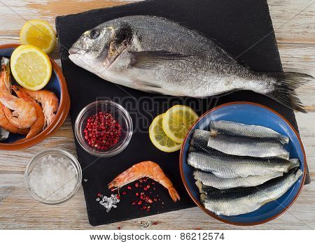 Fresh Raw Fish  With  Spices , Salt And Shrimps - Healthy Food.