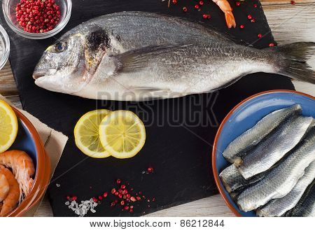 Raw Fish  With  Spices , Salt And Shrimps - Healthy Food.