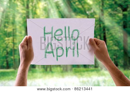 Hello April card with nature background