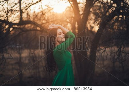 Girl Standing In The Park