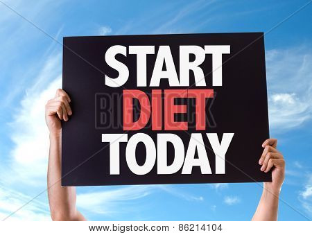 Start Diet Today card with sky background