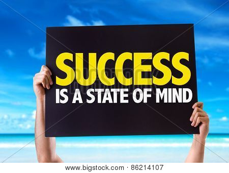 Success Is a State of Mind card with beach background