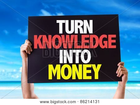 Turn Knowledge Into Money card with beach background