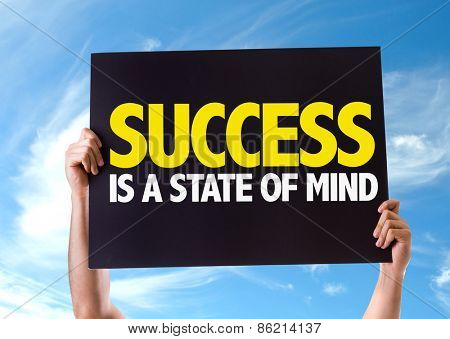 Success Is a State of Mind card with sky background