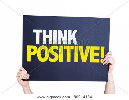 Think Positive card isolated on white