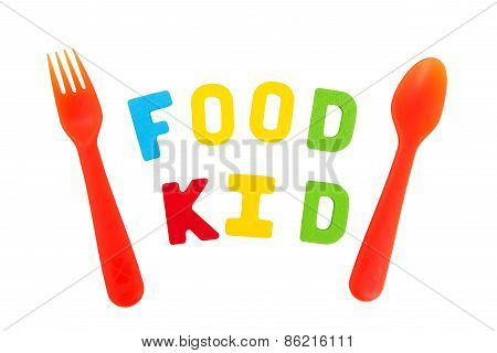 Spell Letter Of Food And Kid On White Background