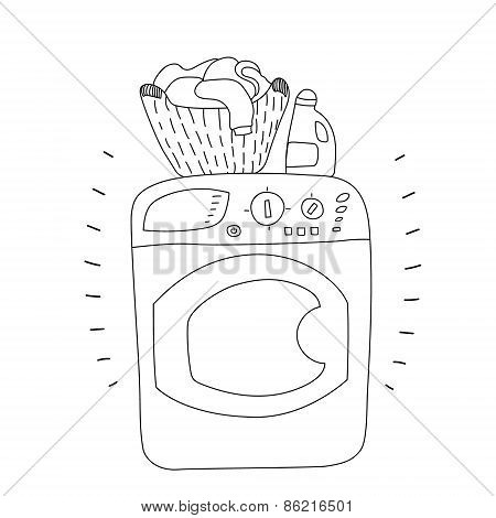 Black and white washing machine with a bottle of detergent and a basket of laundry, cartoon style ve
