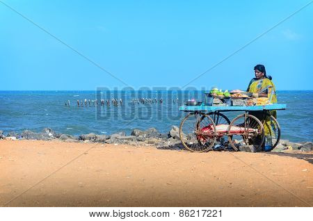 Indian street vendor of  snacks with wheel cart