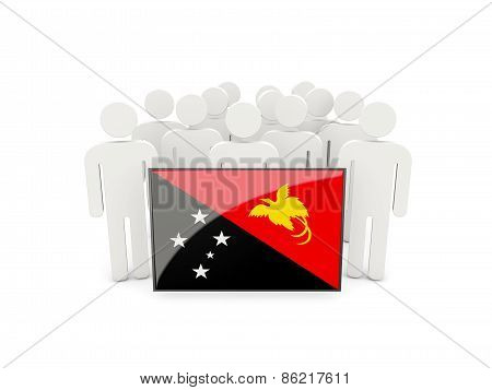 People With Flag Of Papua New Guinea