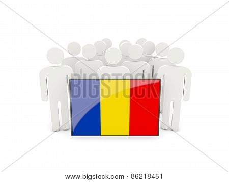 People With Flag Of Romania