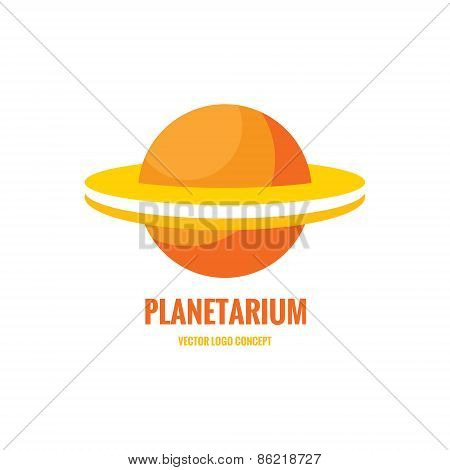 Planetarium - vector logo concept. Abstract planet illustration. Stylized Saturn abstract illustrati