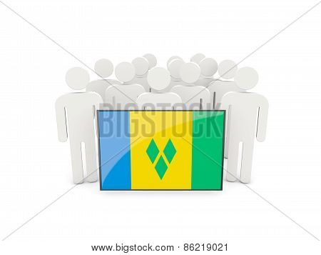 People With Flag Of Saint Vincent And The Grenadines