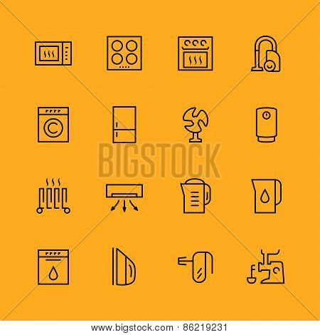 Home Appliances Icons Set, Thin Line