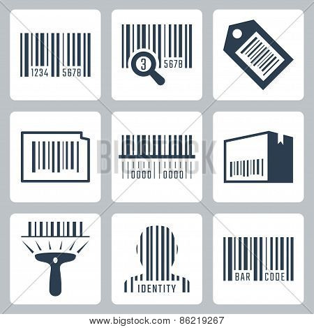 Bar Code Related Vector Icons Set