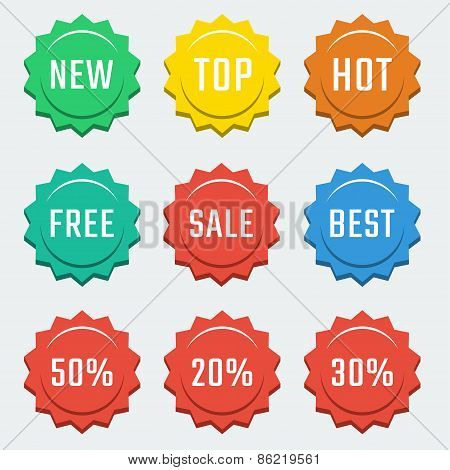 Vector Colorful Shopping Related Badges