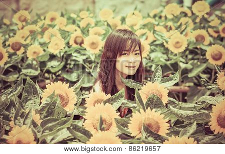 Cute Thai Girl In The Middle Of Beautiful Sunflower Field In Vintage Color