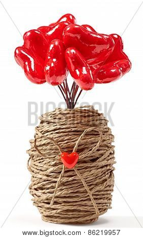 Valentines Bouquet Of Hearts In Vase. Love Concept