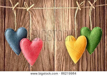 Valentines Day. Hearts Handmade Couple. Love Concept. Retro
