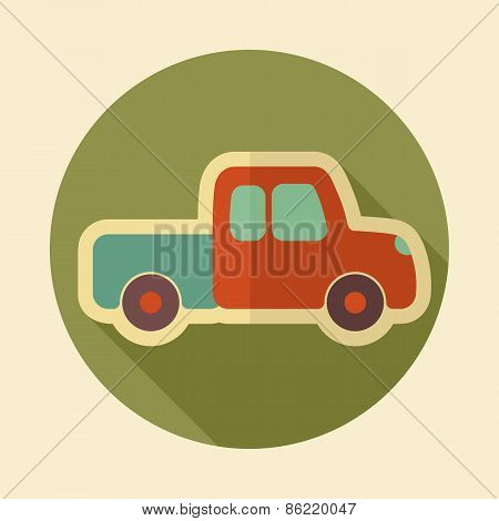 Pickup Truck Retro Flat Icon With Long Shadow