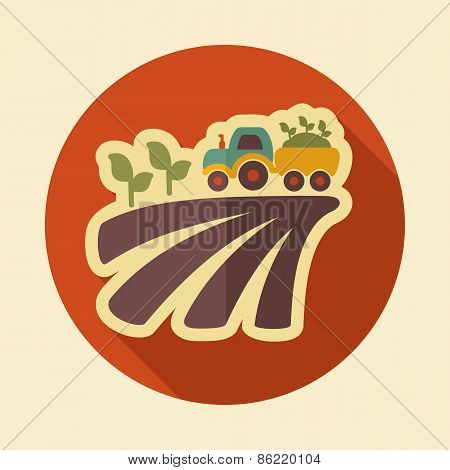 Tractor On Field Harvest Seedling Retro Flat Icon