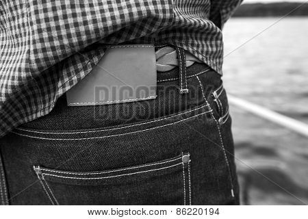 Lower Body Of Men ,back Pocket Of Jeans And Label For A Comercial