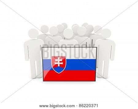 People With Flag Of Slovakia