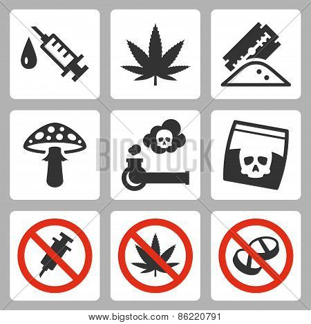 Illegal Drugs Vector Icons Set