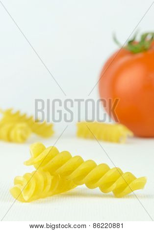 Spiral shaped pasta pieces