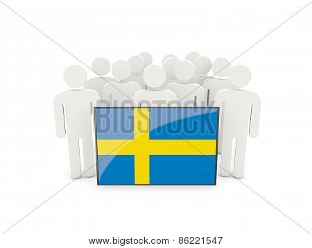 People With Flag Of Sweden